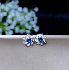 Natural Blue Sapphire Stud Earring Beautiful Flower Design For Women's Gift