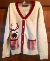 Sophie and Sam Boys Reindeer Pop Out Cardigan - Size 5