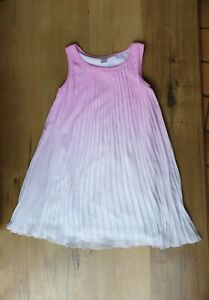 Girls Pink Ombre Pleated Dress Size 10