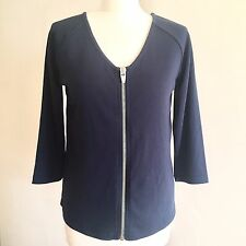 Women VILA Sweatshirt Navy Blue Short Jacket Jumper 3/4 Sleeve Medium Front Open