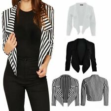Ladies Womens Cropped Waterfall Long Sleeve Coat Casual Work Short Jacket Blazer