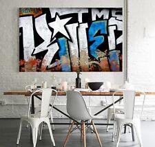 XXL BILD Street Art LEINWAND 160x95x5 ABRAKTES GEMÄLDE BANSKY GRAFITTI NEU IKEA
