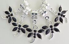5 Black Stone Dragonfly Dangle Charm Fit European Style 20 * 26 & 5 mm Hole R012