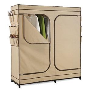 WRD-01272 Double Door Storage Closet with Shoe Organizer, 60-Inch, Tan Free Ship