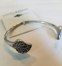 NWT Authentic Lucky Brand Silver Leaf Cuff Bracelet **Ships Free**  *New*