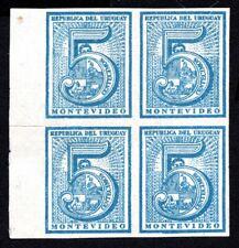 Uruguay 1866 block of 4 stamps Mi#28a pos.41+42A+51+52 MNG CV=20€ RRR!!!