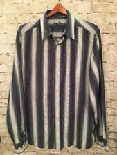 Indigo Palms Denim Co Men's Blue White Striped Long Sleeve Shirt, XL