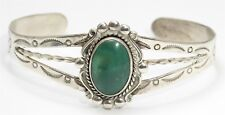 Vintage Bell Trading Post Sterling Silver Old Pawn Green Turquoise Cuff Bracelet