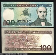 LITHUANIA 100 LITU P50 1991 *AA* LOW # EURO HORSE UNIVERSITY UNC CURRENCY NOTE