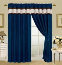 Blue Brown Beige Micro suede New Window Curtain Panels Liner Tassel