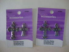 JEWELRY MAKING MEDIUM CROSS CHARMS SILVER METAL -- LOT OF 2 PACKAGES