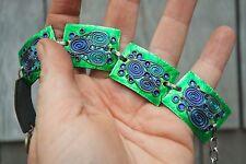 Vintage signed Wiener Handwerk enamel bracelet blue green German secessionist