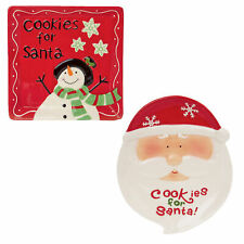 "Novelty Ceramic ""Cookies for Santa"" Christmas Plate - Choose Design"