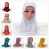 Kids Girls Islamic Muslim Hijab Scarf Middle East Rhinestone Headwear Arab 6-12Y
