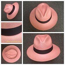 Genuine Ecuador Montecristi Panama Hat - 58/59cm- Large - Pink Color