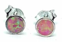 Created Pink Opal Stud Earrings 925 Sterling Silver 5.5mm Opal Inlay Flat Fit