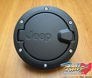 2007-2018 Jeep Wrangler JK Unlimited 4-Door Satin Black Fuel Filler Gas Door OEM
