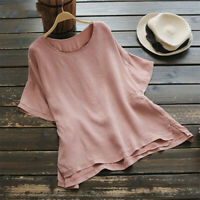 Plus Size Women's Summer Tunic Blouse Loose Baggy Tops Short Sleeve T-shirts Tee