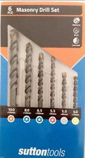SUTTON MASONRY DRILL BIT 6pc SET Concrete/Tiles/Bricks,Tungsten Carbide Tipped
