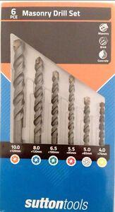 6Pc Sutton Masonry Drill Tool Set With Case For Concrete Tiles Bricks