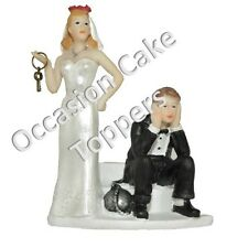 Wedding Cake Topper Bride and Groom Ball and Chain Personalised Decoration
