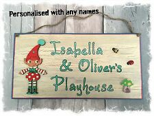 Wooden Playhouse Sign Plaque PERSONALISED with Names Handmade CREAM WITH PIXIE