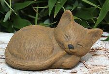 sculpture de Pierre CHAT DORMANT petites brun clair Statue d'ornement de jardin