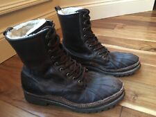 Men's FRYE LACE UP SHEARLING DUCK BOOT  BROWN SIZE 10 M