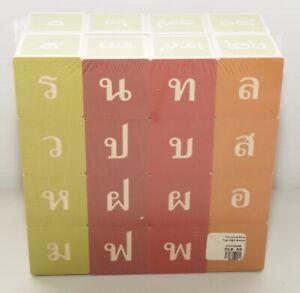 New Thai Character Teaching Blocks 32 Wood Embossed English