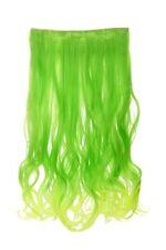 Postiche large Extensions cheveux 5 Clips ondulés bicolore vert-néon-vert clair