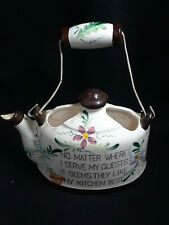 Norcrest Kettle With Kitchen Saying on it Wall Pocket