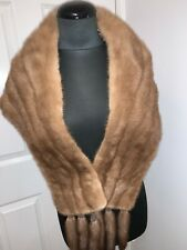 Real blond beige mink fur jacket wedding bolero stole cape wrap removable tails