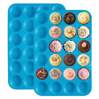 Muffin Cup 24 Hole Silicone Soap Cookies Cupcake Bakeware Cake Pan Tray Moulfw