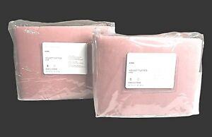 2 Pottery Barn Velvet Tufted Pillow Shams King Size Blush Pink - New