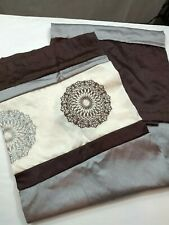 Shower Curtain Brown Gray Cream With Medallions EUC
