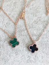 Fashion 18K Rose Gold Plated Double Side Chain Four Leaf Clover Necklace