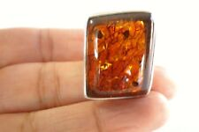 Poland Honey Baltic Amber 925 Sterling Silver Ring Size 5, 6, 7 Adjustable