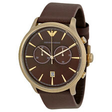 ARMANI MENS CLASSIC CHRONOGRAPH BROWN LEATHER STRAP WATCH AR1793