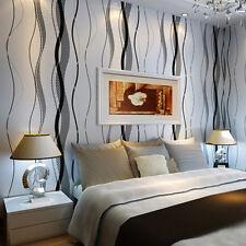 10m 3D Wave Stripe Embossed Non-woven Wallpaper Rolls Living Room Decor