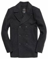 New Mens Superdry Rookie PREMIUM Pea Coat CHARCOAL HERRINGBONE SMALL
