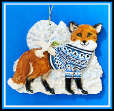 Sonnett Orig. Ceramic Fox Ornament, Christmas Peace in the Snowy Forest, Ooak!