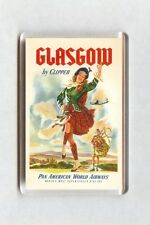 Vintage Air Travel Poster Fridge Magnet - Glasgow By Clipper Pan American