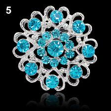 Brosche Anstecker Anstecknadel Blume Herz Strass hellblau silber