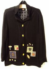 ONQUE CASUALS Black Halloween Trick or Treat Jacket Cat Stars Pumpkin Boo Sz L