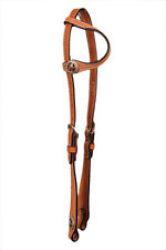 Western Natural HAnd Tooled With Star Conchos One Ear Headstall