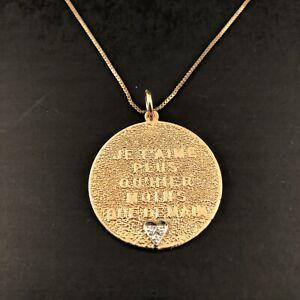Vintage Je T'Aime Plus Qu'Hier Moins Que Demain 14K Gold & Diamond Necklace
