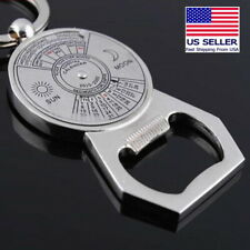 50 Years Perpetual Compass Calendar Keychain Silver Bottle Opener Beer Soda Gift