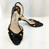 MANOLO BLAHNIK WOMENS LEATHER SLINGBACK SANDALS  BLACK SZ 39.5/9