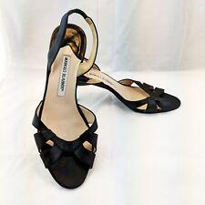 Manolo Blahnik Womens Leather Slingback Sandals Black Size 39.5 EUR 9 US