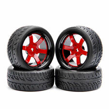 4PCS Rubber Tires & Wheel For HSP HPI RC 1/10 Scale On-Road Street Car D6NKR